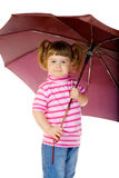 Little funny girl with umbrella Stock Photos