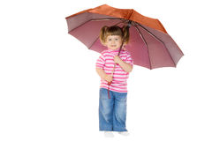 Little funny girl with umbrella Royalty Free Stock Image
