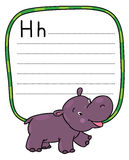 Little funny hippo, for ABC. Alphabet H. Children vector illustration of little funny hippo or hippopotamus. Alphabet H. Including frame with lines and place for stock illustration
