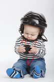 Little funny hockey referee Royalty Free Stock Photos