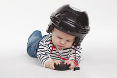 Little funny hockey referee Stock Photos