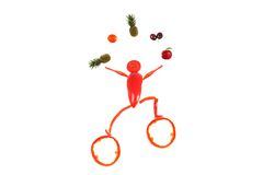 Little funny juggler made of pepper. Stock Image