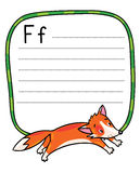 Little funny jumping fox, for ABC. Alphabet F. Children vector illustration of little funny jumping fox. Alphabet F. Including frame with dotted lines and place Royalty Free Stock Photography