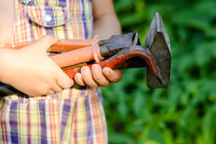 Little funny kid with building tools, closeup Royalty Free Stock Photos