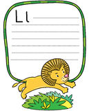 Little funny lion for ABC. Alphabet L. Children vector illustration of little funny lion jumping out of the jungle. Alphabet L. Including frame with lines and Royalty Free Stock Photos