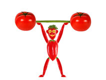 Little funny man made of pepper  raises bar. Royalty Free Stock Images
