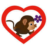 Little funny monkey with flower. In the heart silhouette royalty free illustration