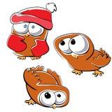 Little funny owl set stock illustration