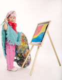 Little funny painter on white Stock Images