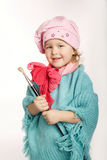 Little funny painter on white Royalty Free Stock Images