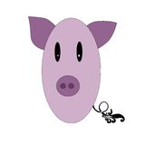 Little funny pig pink color Royalty Free Stock Photos