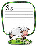 Little funny sheep, for ABC. Alphabet S. Children vector illustrationof little funny sheep running along the path. Alphabet S. Including frame with dotted lines Royalty Free Stock Photo