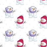 Little funny snowmen. Christmas seamless pattern with the image of snowmen in cartoon style. Vector colorful background Royalty Free Stock Photo
