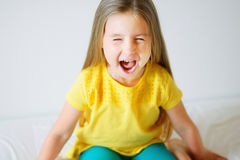 Little funny toddler girl screaming Stock Photos