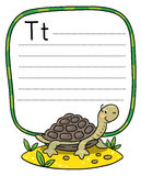 Little funny turtle, for ABC. Alphabet T. Coloring picture of little funny turtle on the sand near the palm. Alphabet T. Including frame with dotted lines and Stock Photo