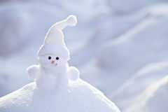 Little funny white snowman. Royalty Free Stock Image