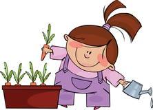 Little gardener. Illustration with little girl grows carrots Royalty Free Stock Image