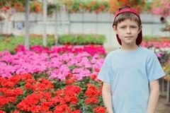 Little gardener. 9 years old boy in his flower garden - kids and family stock image