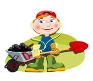 Little gardener. Little gardener with a wheelbarrow, red cap, gardening gloves holding a shovel. Vector EPS-File vector illustration
