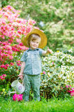 Little gardener in the blooming trees Stock Image