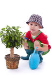 Little gardener boy Royalty Free Stock Photos