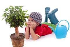 Little gardener boy Royalty Free Stock Images