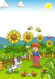 Little Gardener Boy with Sunflower and his Dog. Stock Images