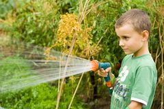 Little gardener at work. Seven years old boy spraying vegetables with a sprinkle Royalty Free Stock Photos