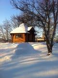 Little gazebo middle of snowy landscape Royalty Free Stock Image
