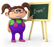 Little genius. Smart little girl with blackboard - high quality 3d illustration Royalty Free Stock Photography