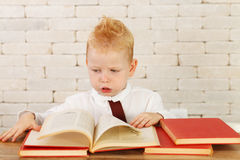Little genius with books Stock Image