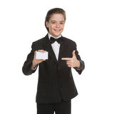 Little gentleman. Cheerful little boy in formalwear holding busi Stock Photos