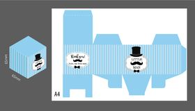 Little gentleman gift vector box. Light blue stripes background with black mustache, bowtie and hat. Template for themed birthday bash party. Classic pattern stock illustration