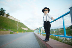Little gentleman with sunglasses outdoors Royalty Free Stock Images