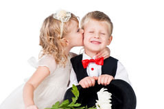 Little gentlemen and lady kissing isolated Royalty Free Stock Photos