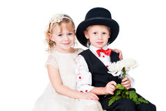 Little gentlemen and lady romance. Little gentlemen and lady romence isolated on white Stock Photos