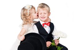 Little gentlemen and lady romance Royalty Free Stock Image