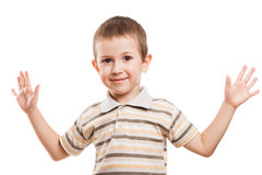Smiling child gesturing. Little gesturing boy happiness fun smiling Stock Photography