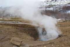 Little geyser in the geothermal area in Iceland Royalty Free Stock Photo