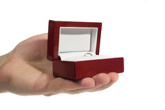A little gift. Golden ring in the box (a little gift Royalty Free Stock Photography