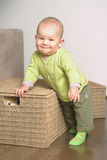 Little gift 6. A very cute 8-9 months old baby is playing with teddy bears in a basket. This is a full series of 14 photos, take a look at them all before you Stock Image