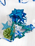 Little gift box and christmas decorations Royalty Free Stock Photo