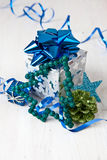 Little gift box and christmas decorations Royalty Free Stock Images