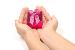 Little gift box in hands Royalty Free Stock Photos