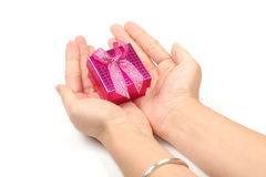 Little gift box in hands Stock Photos