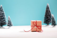 Little gift box in miniature evergreen forest Royalty Free Stock Photo