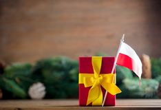 Little gift box with Poland flag Stock Photography