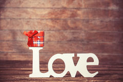 Little gift and word Love Stock Images