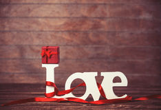 Little gift and word Love Royalty Free Stock Images