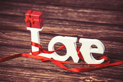 Little gift and word Love Stock Image